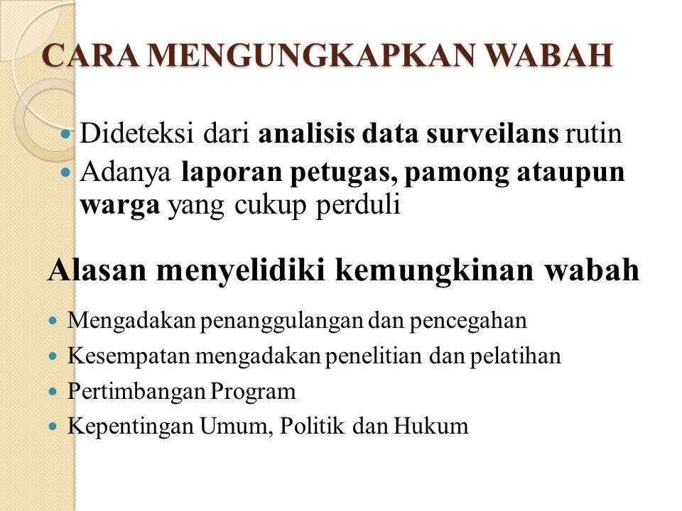 Alasan menyelidiki kemungkinan wabah Mengadakan penanggulangan dan pencegahan Kesempatan mengadakan penelitian dan pelatihan Pertimbangan Program Kepentingan Umum, Politik dan Hukum