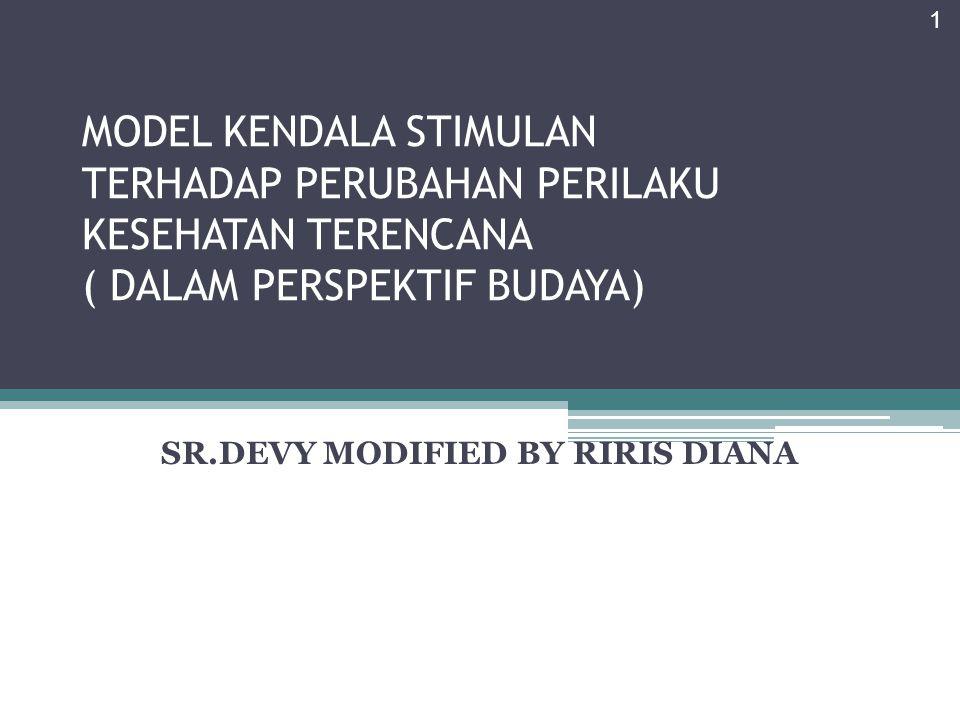 MODEL KENDALA STIMULAN TERHADAP PERUBAHAN PERILAKU KESEHATAN TERENCANA ( DALAM PERSPEKTIF BUDAYA) SR.DEVY MODIFIED BY RIRIS DIANA 1
