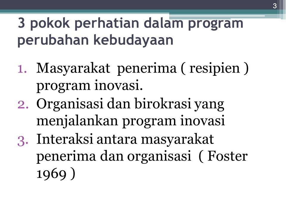 3 pokok perhatian dalam program perubahan kebudayaan 1.Masyarakat penerima ( resipien ) program inovasi.