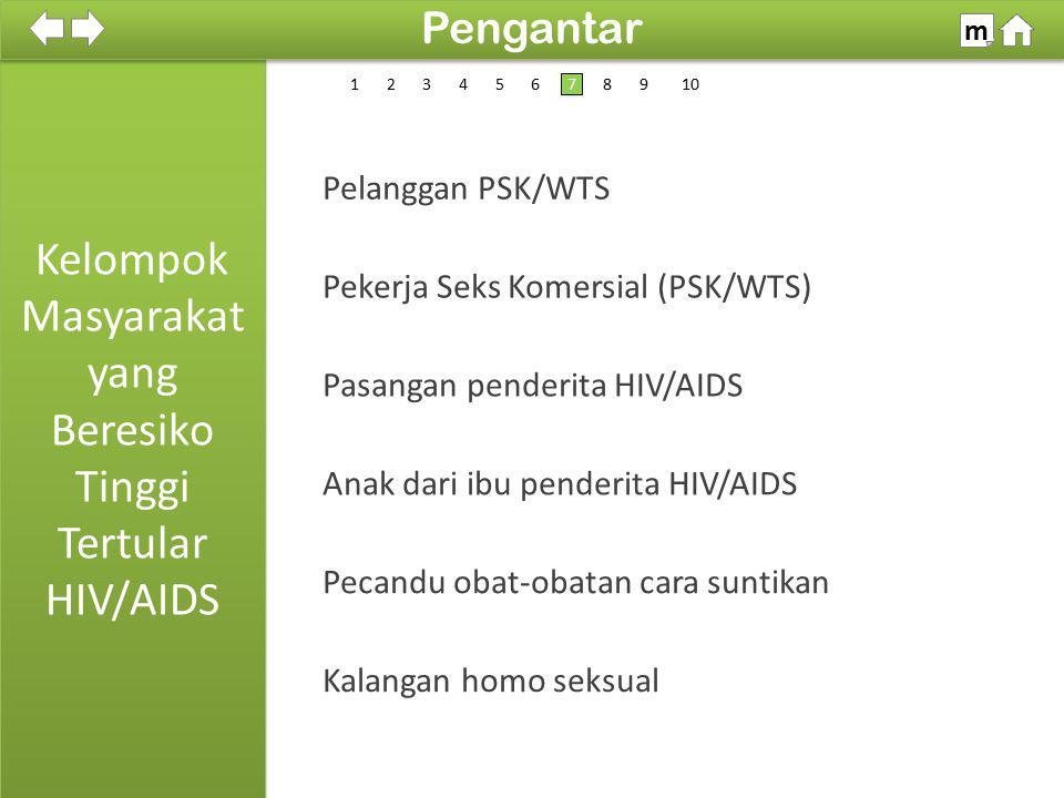 Kelompok Masyarakat yang Beresiko Tinggi Tertular HIV/AIDS 100% SDKI 2012 Pengantar m 1 Kalangan homo seksual Pekerja Seks Komersial (PSK/WTS) Pelangg