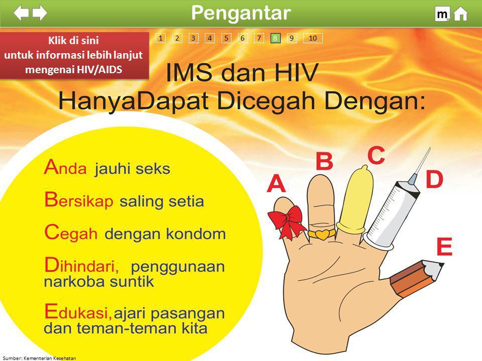 Sumber: Kementerian Kesehatan 100% SDKI 2012 Pengantar m Klik di sini untuk informasi lebih lanjut mengenai HIV/AIDS Klik di sini untuk informasi lebi
