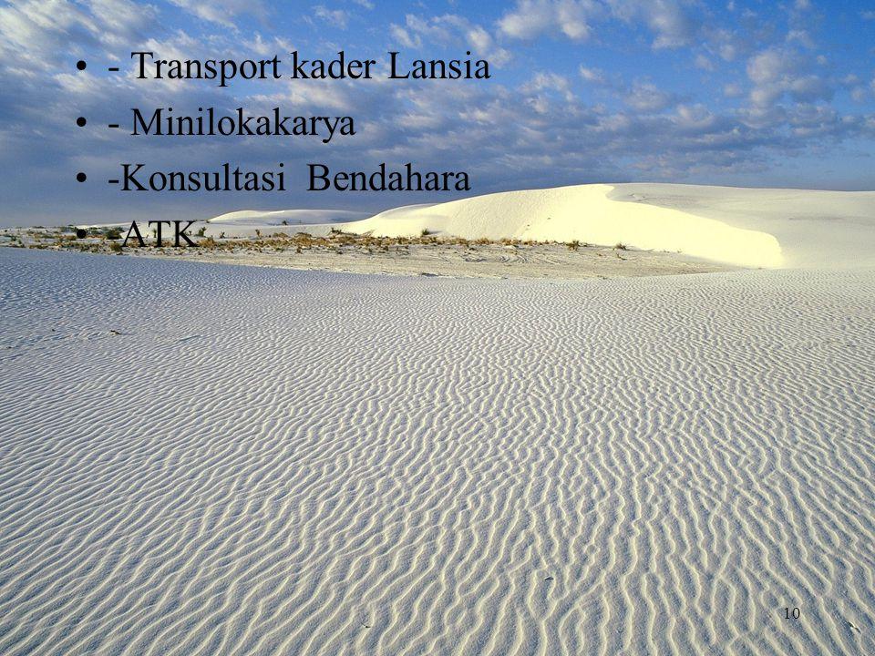 - Transport kader Lansia - Minilokakarya -Konsultasi Bendahara -ATK 10