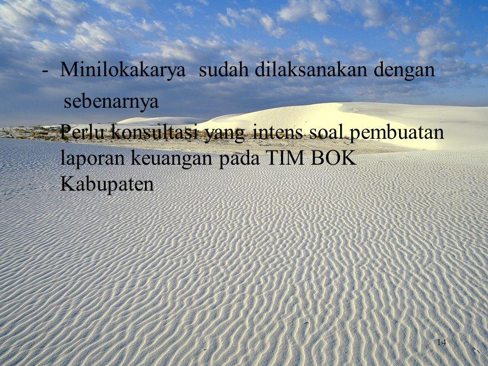 -Minilokakarya sudah dilaksanakan dengan sebenarnya - Perlu konsultasi yang intens soal pembuatan laporan keuangan pada TIM BOK Kabupaten 14