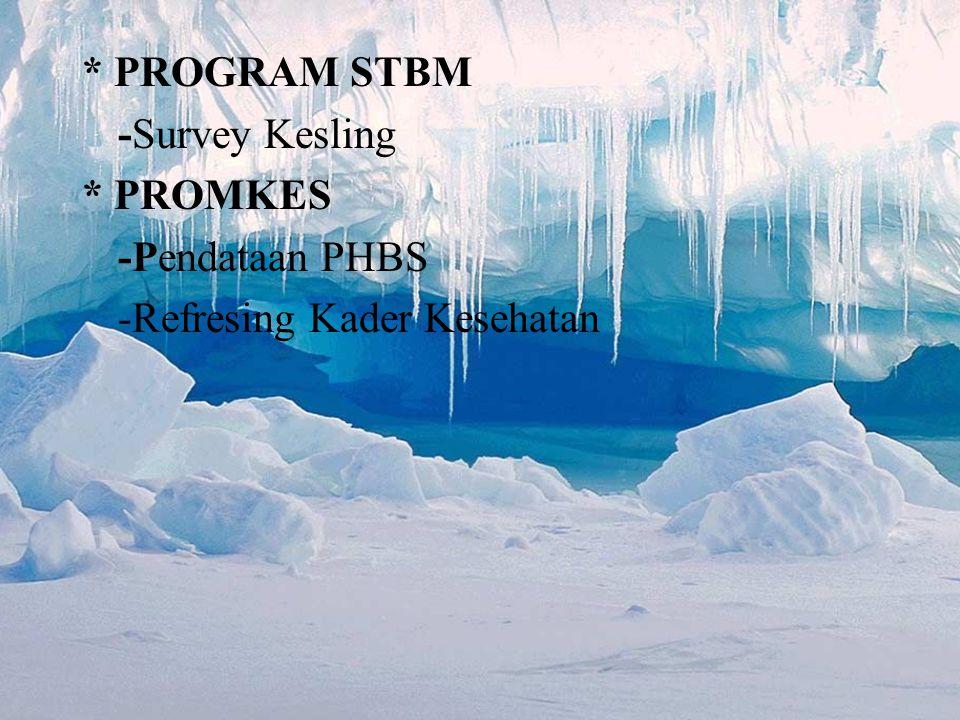 * PROGRAM STBM -Survey Kesling * PROMKES -Pendataan PHBS -Refresing Kader Kesehatan