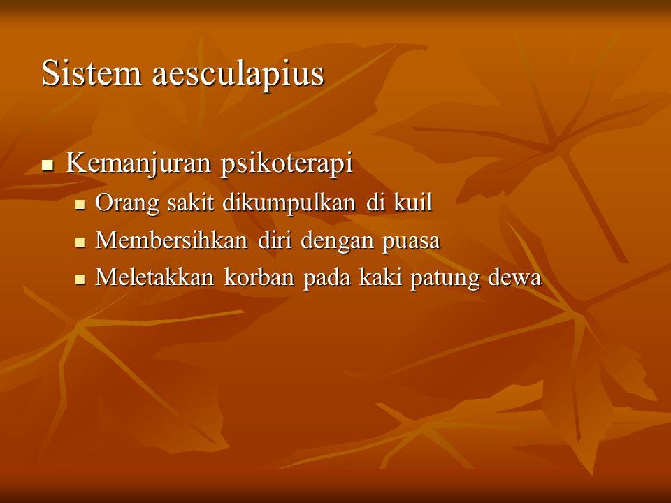 Sistem aesculapius Kemanjuran psikoterapi Kemanjuran psikoterapi Orang sakit dikumpulkan di kuil Orang sakit dikumpulkan di kuil Membersihkan diri den
