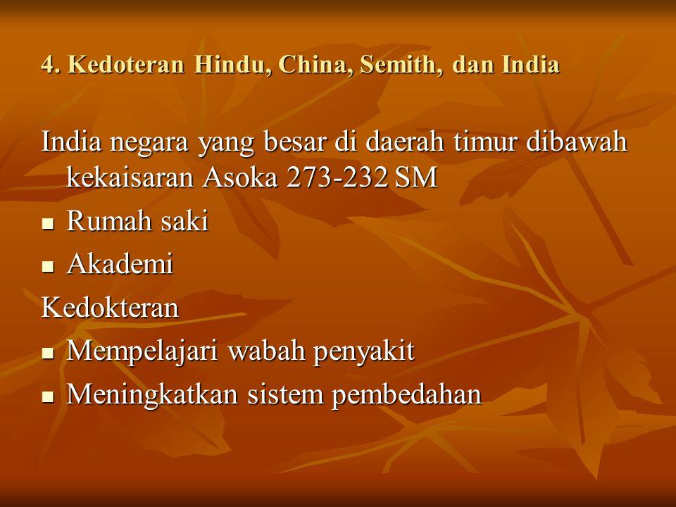 4. Kedoteran Hindu, China, Semith, dan India India negara yang besar di daerah timur dibawah kekaisaran Asoka 273-232 SM Rumah saki Rumah saki Akademi