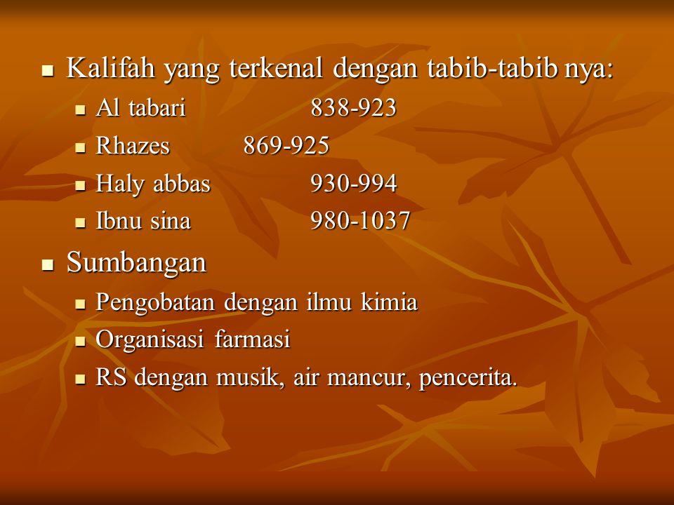 Kalifah yang terkenal dengan tabib-tabib nya: Kalifah yang terkenal dengan tabib-tabib nya: Al tabari838-923 Al tabari838-923 Rhazes869-925 Rhazes869-