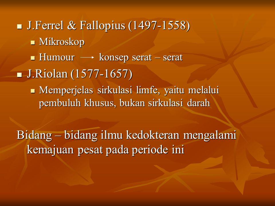 J.Ferrel & Fallopius (1497-1558) J.Ferrel & Fallopius (1497-1558) Mikroskop Mikroskop Humourkonsep serat – serat Humourkonsep serat – serat J.Riolan (