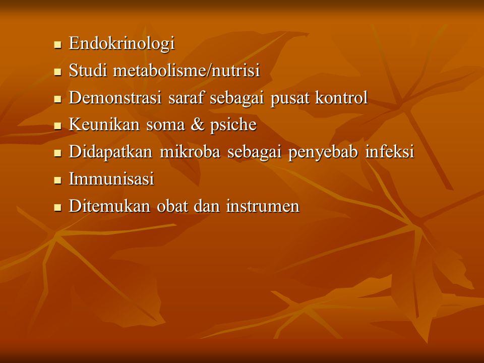 Endokrinologi Endokrinologi Studi metabolisme/nutrisi Studi metabolisme/nutrisi Demonstrasi saraf sebagai pusat kontrol Demonstrasi saraf sebagai pusa