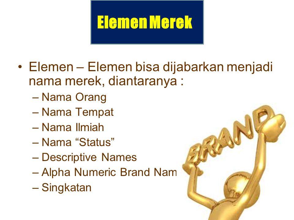 """Elemen Merek Elemen – Elemen bisa dijabarkan menjadi nama merek, diantaranya : –Nama Orang –Nama Tempat –Nama Ilmiah –Nama """"Status"""" –Descriptive Names"""