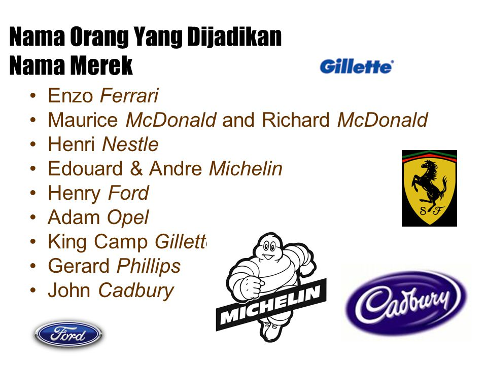 Nama Orang Yang Dijadikan Nama Merek Enzo Ferrari Maurice McDonald and Richard McDonald Henri Nestle Edouard & Andre Michelin Henry Ford Adam Opel Kin