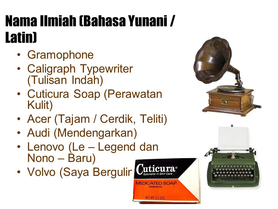 Nama Ilmiah (Bahasa Yunani / Latin) Gramophone Caligraph Typewriter (Tulisan Indah) Cuticura Soap (Perawatan Kulit) Acer (Tajam / Cerdik, Teliti) Audi