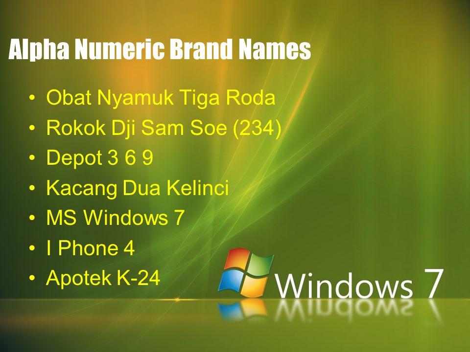 Alpha Numeric Brand Names Obat Nyamuk Tiga Roda Rokok Dji Sam Soe (234) Depot 3 6 9 Kacang Dua Kelinci MS Windows 7 I Phone 4 Apotek K-24