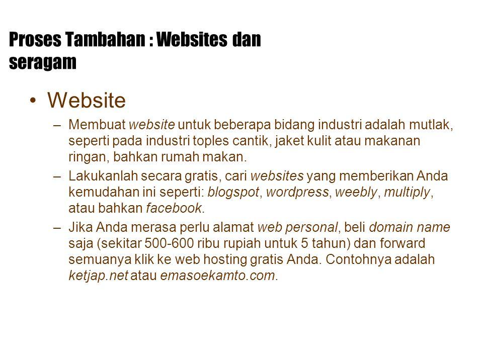 Proses Tambahan : Websites dan seragam Website –Membuat website untuk beberapa bidang industri adalah mutlak, seperti pada industri toples cantik, jak