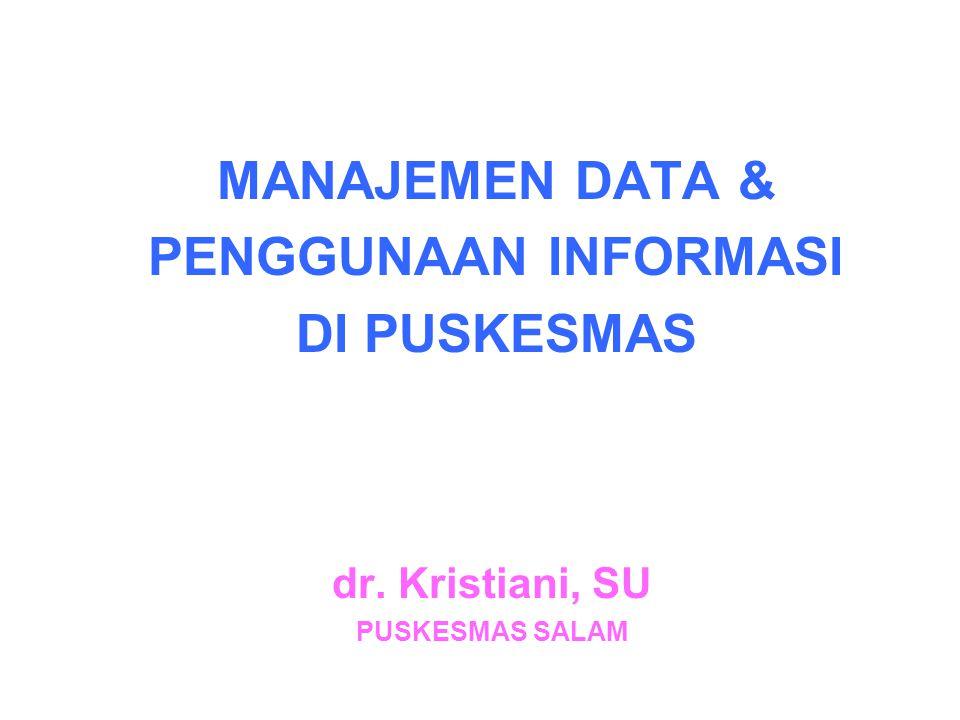 INSTRUMENTAL INPUT:  FORM R&R  COMPUTER: HARDWARE & SOFTWARE  SDM DATA INPUT: DATA BERASAL DARI # PENANGGUNG JAWAB :  6 PROGRAM POKOK & LOCAL PROGRAM  PUSTU  PUSKESLING  POLINDES  POSYANDU  KLINIK/RB SWASTA # LINTAS SEKTORAL # MASYARAKAT:  KADER  DUKUN BAYI MANAJEMEN DATA:  DATA ENTRY  REKAPITULASI DATA  ANALISIS DATA  INTERPRETASI DATA  PENYAJIAN DATA  PENYEBARLUASAN DATA HASIL ANALISIS: # INFORMASI HARIAN:  KLB / WABAH # INFORMASI BULANAN:  DATA KUNJUNGAN PASIEN  DATA CAKUPAN PROGRAM  DATA PENYAKIT  PWS  DATA LINGKUNGAN  PENGGUNAAN OBAT  DLL.