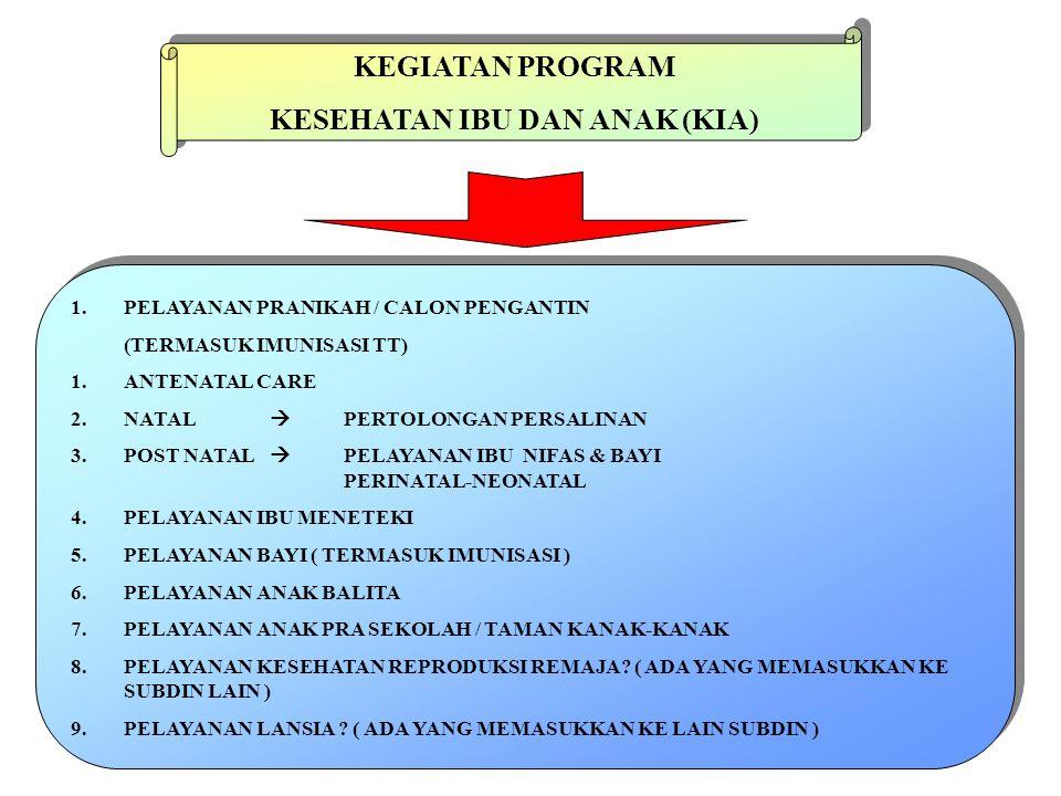 INDIKATOR-INDIKATOR : PELAYANAN PRANIKAH/CALON PENGANTIN ( CATIN ) : CAKUPAN DETEKSI RESTI CALON BUMIL CAKUPAN TT-1 DAN TT-2 CATIN ANTENATAL CARE : CAKUPAN K-I  AKSES KE PELAYANAN CAKUPAN K-4  KEBERHASILAN PROGRAM CAKUPAN TT-2 BUMIL CAKUPAN Fe – 90 CAKUPAN DETEKSI RESTI BUMIL OLEH TENAGA KESEHATAN CAKUPAN DETEKSI RESTI BUMIL OLEH MASYARAKAT NATAL : CAKUPAN PERSALINAN OLEH TENAGA KESEHATAN POST NATAL : CAKUPAN PELAYANAN BUFAS CAKUPAN PELAYANAN BUTEKI CAKUPAN PELAYANAN PERINATAL  KN-1 CAKUPAN PELAYANAN NEONATAL  KN-2