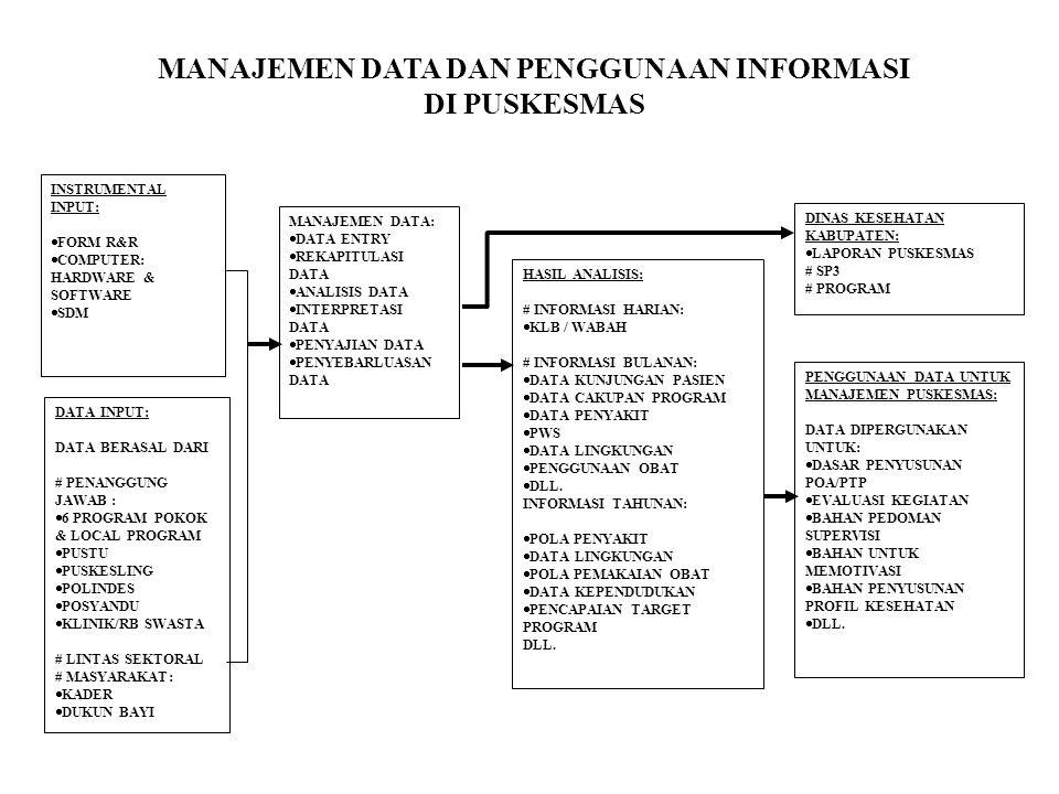 INSTRUMENTAL INPUT:  FORM R&R  COMPUTER: HARDWARE & SOFTWARE  SDM DATA INPUT: DATA BERASAL DARI # PENANGGUNG JAWAB :  6 PROGRAM POKOK & LOCAL PROGRAM  PUSTU  PUSKESLING  POLINDES  POSYANDU  KLINIK/RB SWASTA # LINTAS SEKTORAL # MASYARAKAT:  KADER  DUKUN BAYI