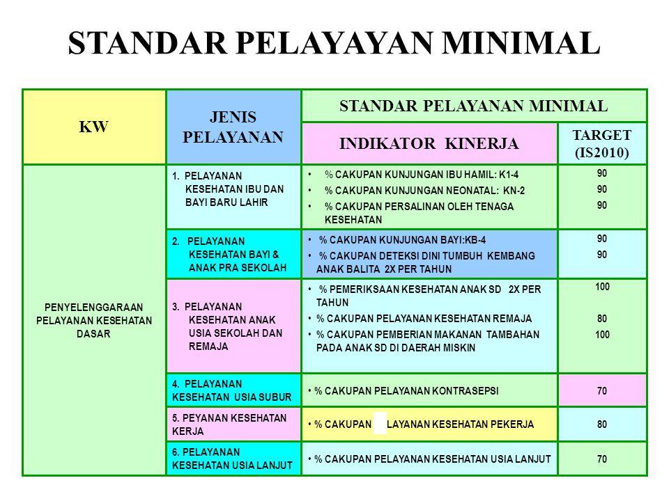 LANJUTAN SPM STANDAR PELAYANAN MINIMAL 15 1,5 70 1 < 0.5 100 TARGET (IS2010) 7.