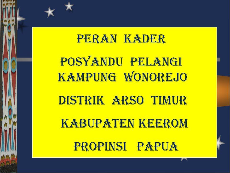 peran kader posyandu pelangi kampung wonorejo distrik arso timur kabupaten keerom propinsi papua
