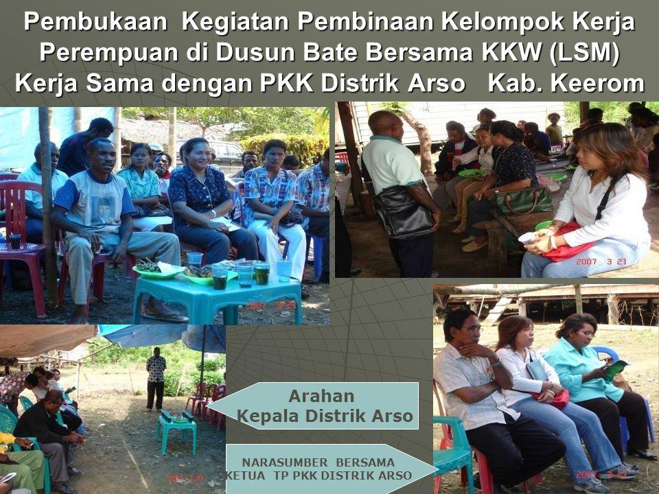 Pembukaan Kegiatan Pembinaan Kelompok Kerja Perempuan di Dusun Bate Bersama KKW (LSM) Kerja Sama dengan PKK Distrik Arso Kab.