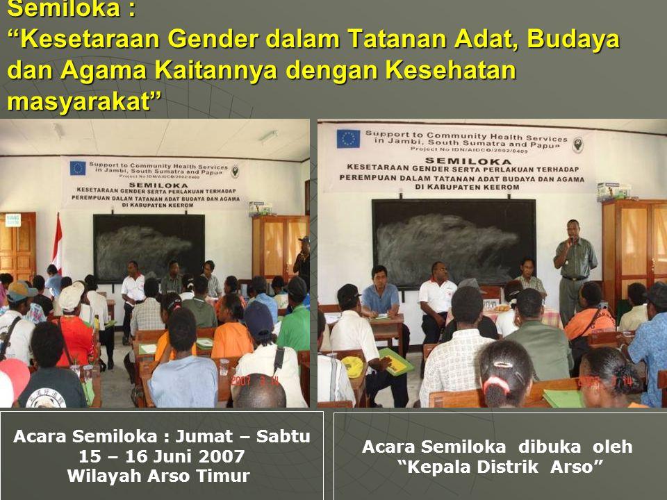 Semiloka : Kesetaraan Gender dalam Tatanan Adat, Budaya dan Agama Kaitannya dengan Kesehatan masyarakat Acara Semiloka : Jumat – Sabtu 15 – 16 Juni 2007 Wilayah Arso Timur Acara Semiloka dibuka oleh Kepala Distrik Arso