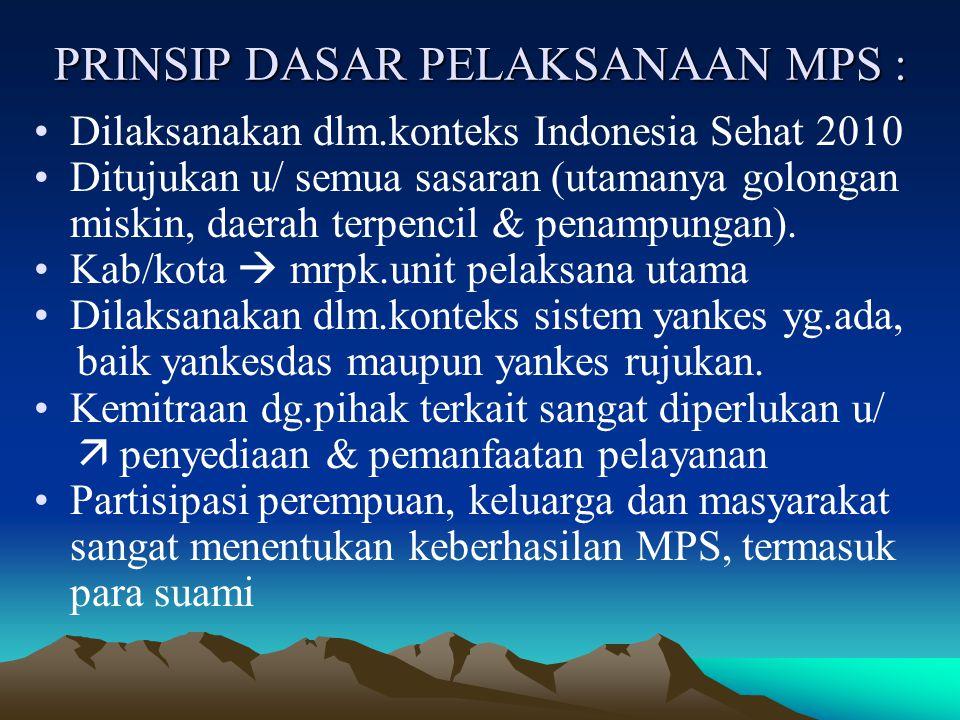 PRINSIP DASAR PELAKSANAAN MPS : Dilaksanakan dlm.konteks Indonesia Sehat 2010 Ditujukan u/ semua sasaran (utamanya golongan miskin, daerah terpencil & penampungan).