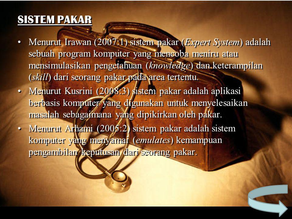 SISTEM PAKAR Menurut Irawan (2007:1) sistem pakar (Expert System) adalah sebuah program komputer yang mencoba meniru atau mensimulasikan pengetahuan (