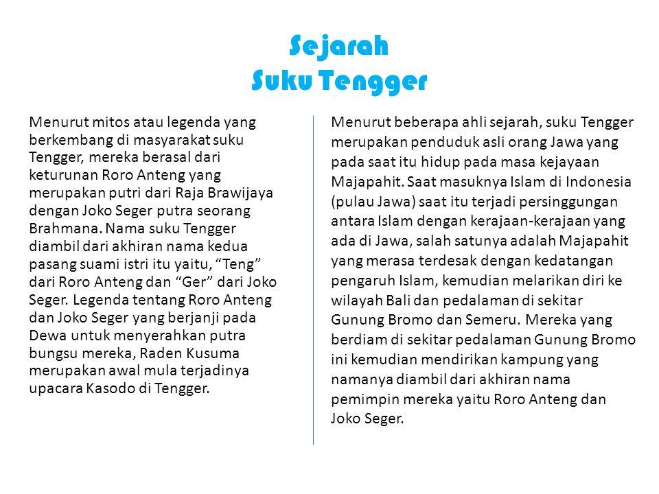 Sejarah Suku Tengger Menurut mitos atau legenda yang berkembang di masyarakat suku Tengger, mereka berasal dari keturunan Roro Anteng yang merupakan putri dari Raja Brawijaya dengan Joko Seger putra seorang Brahmana.