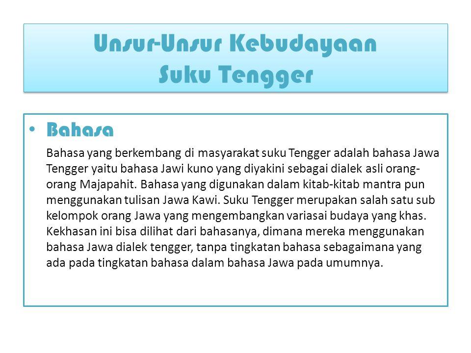 Bahasa Bahasa yang berkembang di masyarakat suku Tengger adalah bahasa Jawa Tengger yaitu bahasa Jawi kuno yang diyakini sebagai dialek asli orang- orang Majapahit.