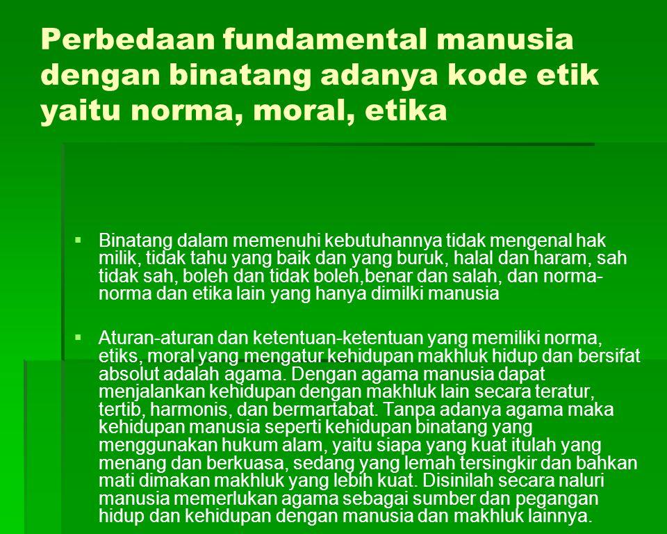 Perbedaan fundamental manusia dengan binatang adanya kode etik yaitu norma, moral, etika   Binatang dalam memenuhi kebutuhannya tidak mengenal hak m