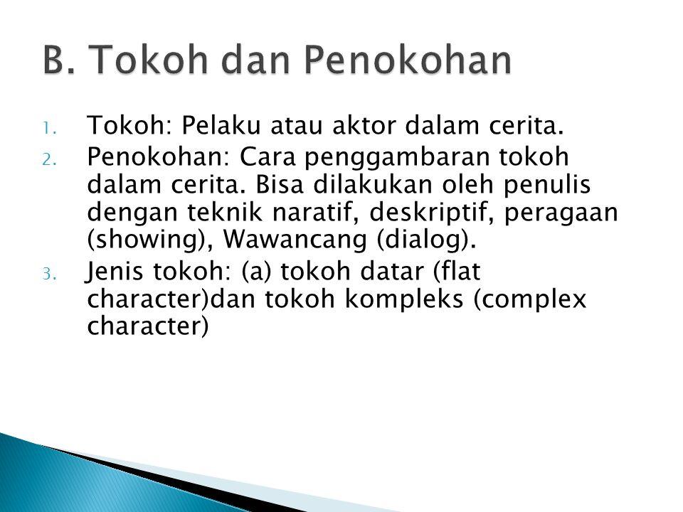 1.Tokoh: Pelaku atau aktor dalam cerita. 2. Penokohan: Cara penggambaran tokoh dalam cerita.