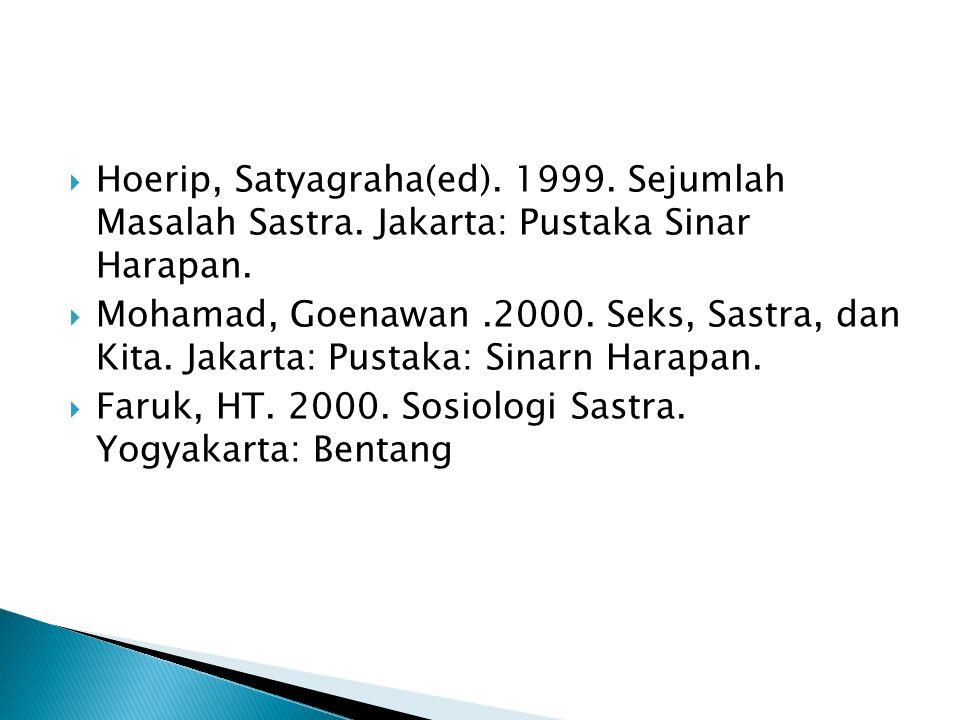  Hoerip, Satyagraha(ed). 1999. Sejumlah Masalah Sastra. Jakarta: Pustaka Sinar Harapan.  Mohamad, Goenawan.2000. Seks, Sastra, dan Kita. Jakarta: Pu