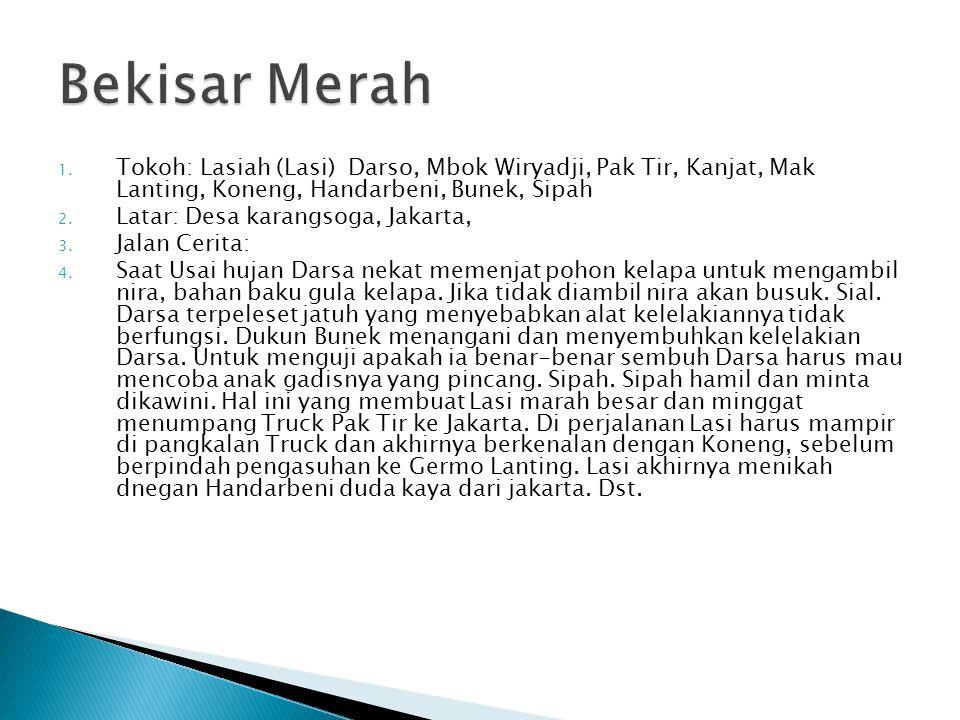 1. Tokoh: Lasiah (Lasi) Darso, Mbok Wiryadji, Pak Tir, Kanjat, Mak Lanting, Koneng, Handarbeni, Bunek, Sipah 2. Latar: Desa karangsoga, Jakarta, 3. Ja