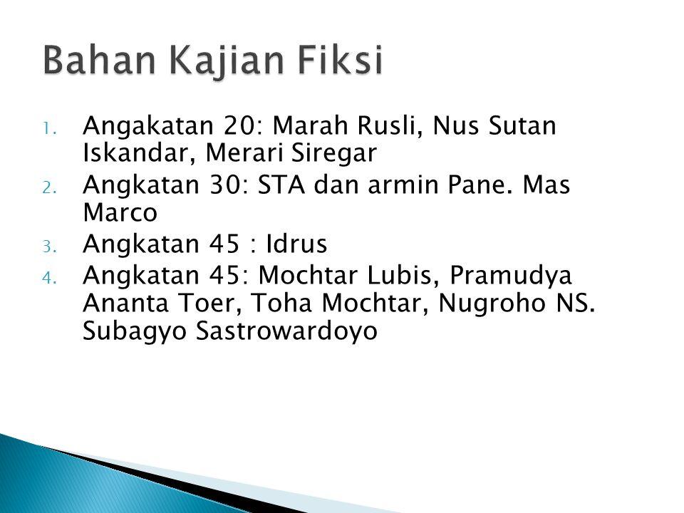 1. Angakatan 20: Marah Rusli, Nus Sutan Iskandar, Merari Siregar 2. Angkatan 30: STA dan armin Pane. Mas Marco 3. Angkatan 45 : Idrus 4. Angkatan 45: