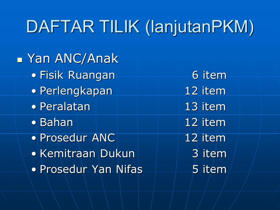 DAFTAR TILIK (lanjutanPKM) Yan ANC/Anak Yan ANC/Anak Fisik Ruangan 6 itemFisik Ruangan 6 item Perlengkapan12 itemPerlengkapan12 item Peralatan13 itemP
