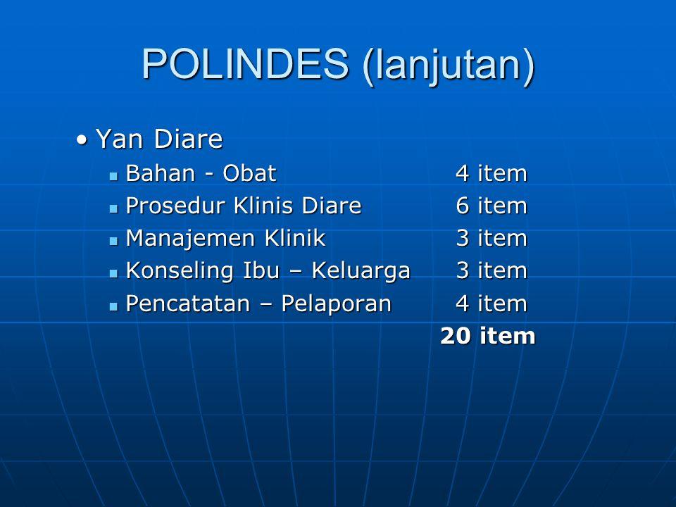 POLINDES (lanjutan) Yan DiareYan Diare Bahan - Obat 4 item Bahan - Obat 4 item Prosedur Klinis Diare 6 item Prosedur Klinis Diare 6 item Manajemen Kli