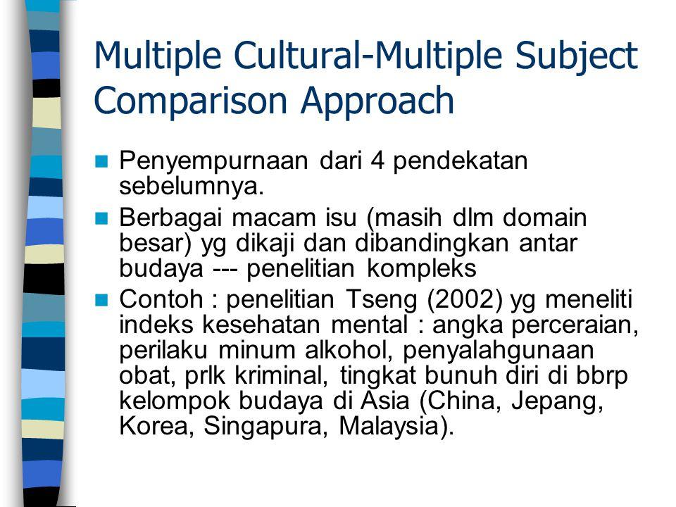 Multiple Cultural-Multiple Subject Comparison Approach Penyempurnaan dari 4 pendekatan sebelumnya. Berbagai macam isu (masih dlm domain besar) yg dika