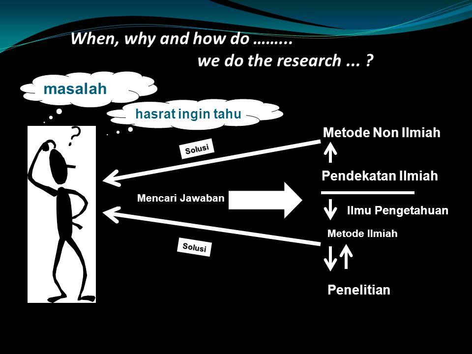 PENELITIAN Mengapa melakukan penelitian ? Untuk memenuhi rasa keingintahuan Untuk mencari solusi suatu masalah