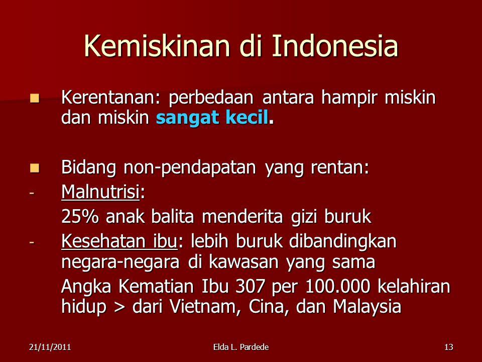 13 Kemiskinan di Indonesia Kerentanan: perbedaan antara hampir miskin dan miskin sangat kecil.