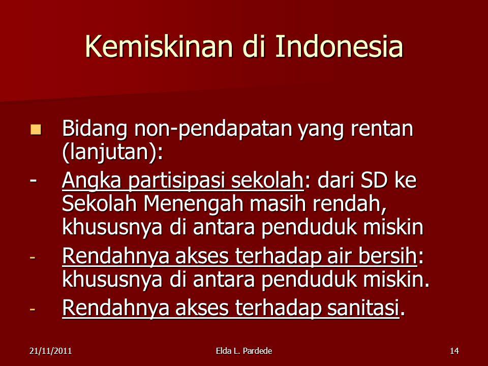 14 Kemiskinan di Indonesia Bidang non-pendapatan yang rentan (lanjutan): Bidang non-pendapatan yang rentan (lanjutan): -Angka partisipasi sekolah: dari SD ke Sekolah Menengah masih rendah, khususnya di antara penduduk miskin - Rendahnya akses terhadap air bersih: khususnya di antara penduduk miskin.