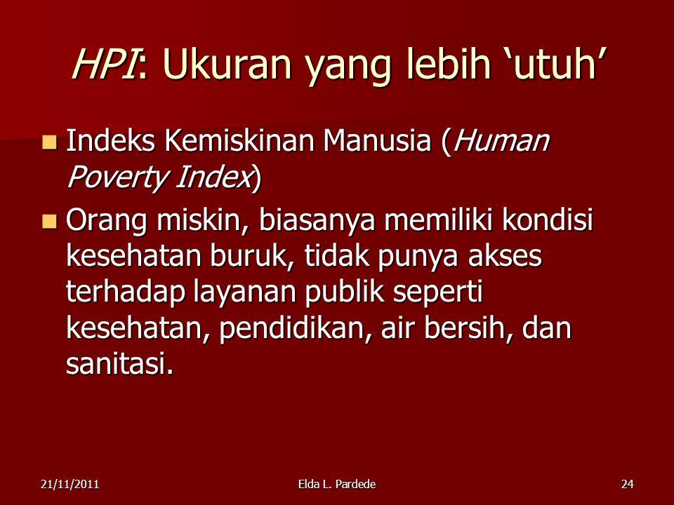 24 HPI: Ukuran yang lebih 'utuh' Indeks Kemiskinan Manusia (Human Poverty Index) Indeks Kemiskinan Manusia (Human Poverty Index) Orang miskin, biasanya memiliki kondisi kesehatan buruk, tidak punya akses terhadap layanan publik seperti kesehatan, pendidikan, air bersih, dan sanitasi.