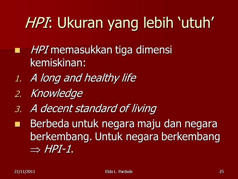 25 HPI: Ukuran yang lebih 'utuh' HPI memasukkan tiga dimensi kemiskinan: HPI memasukkan tiga dimensi kemiskinan: 1.