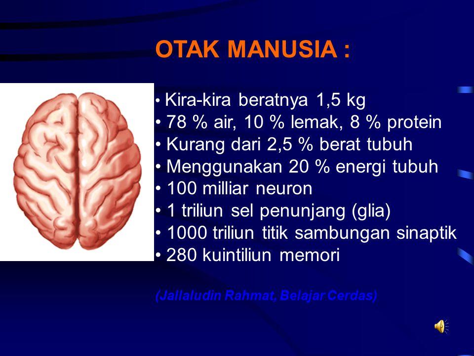 Orang pintar : interconection otak rapat, banyak dan jauh. Orang bodoh: interconection otak renggang, jarang dan pendek. Otak harus mengkonsumsi banya