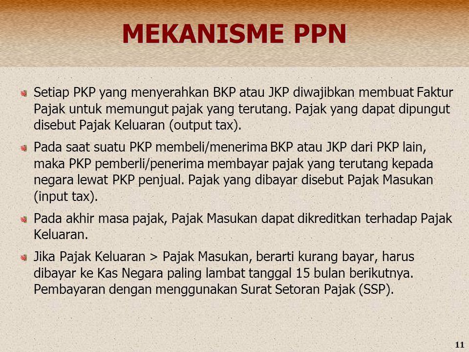 11 MEKANISME PPN Setiap PKP yang menyerahkan BKP atau JKP diwajibkan membuat Faktur Pajak untuk memungut pajak yang terutang. Pajak yang dapat dipungu