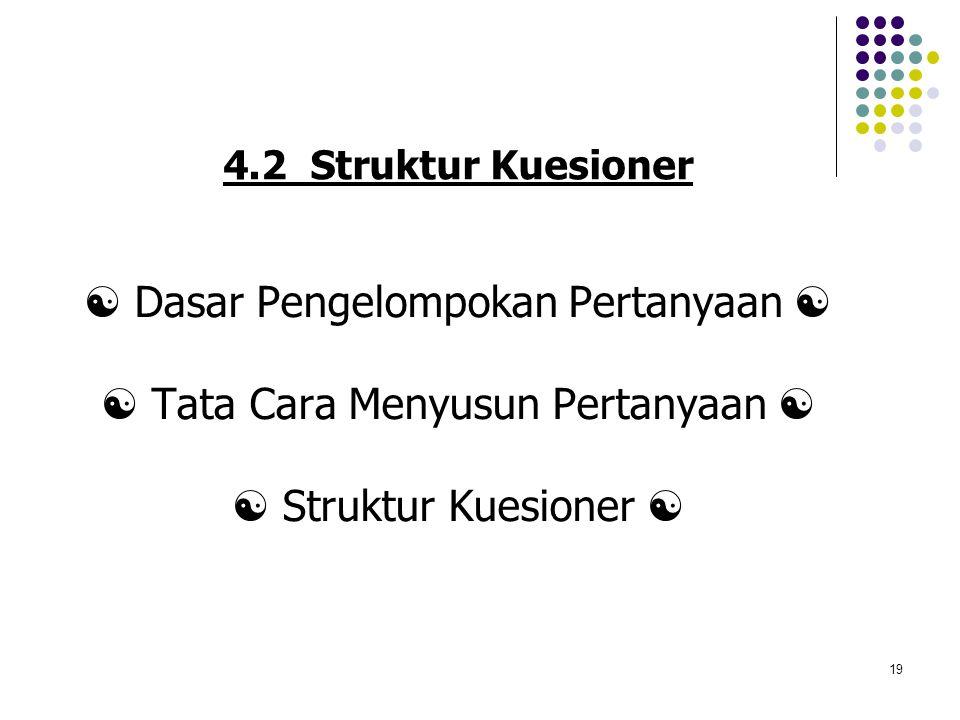 19 4.2 Struktur Kuesioner  Dasar Pengelompokan Pertanyaan   Tata Cara Menyusun Pertanyaan   Struktur Kuesioner 