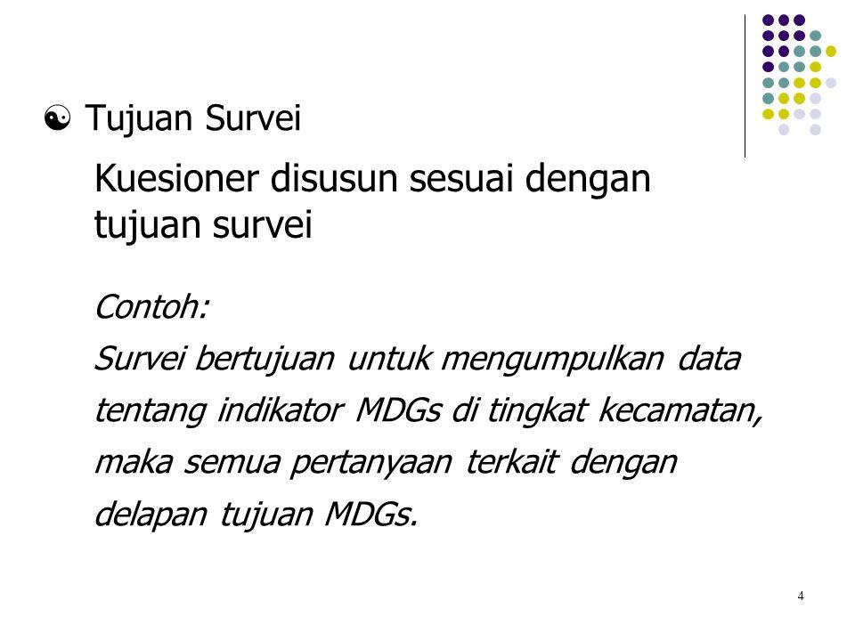 4  Tujuan Survei Contoh: Survei bertujuan untuk mengumpulkan data tentang indikator MDGs di tingkat kecamatan, maka semua pertanyaan terkait dengan d