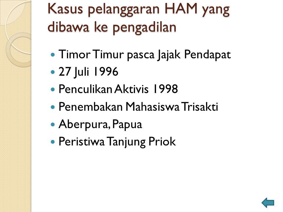 Kasus pelanggaran HAM yang dibawa ke pengadilan Timor Timur pasca Jajak Pendapat 27 Juli 1996 Penculikan Aktivis 1998 Penembakan Mahasiswa Trisakti Ab
