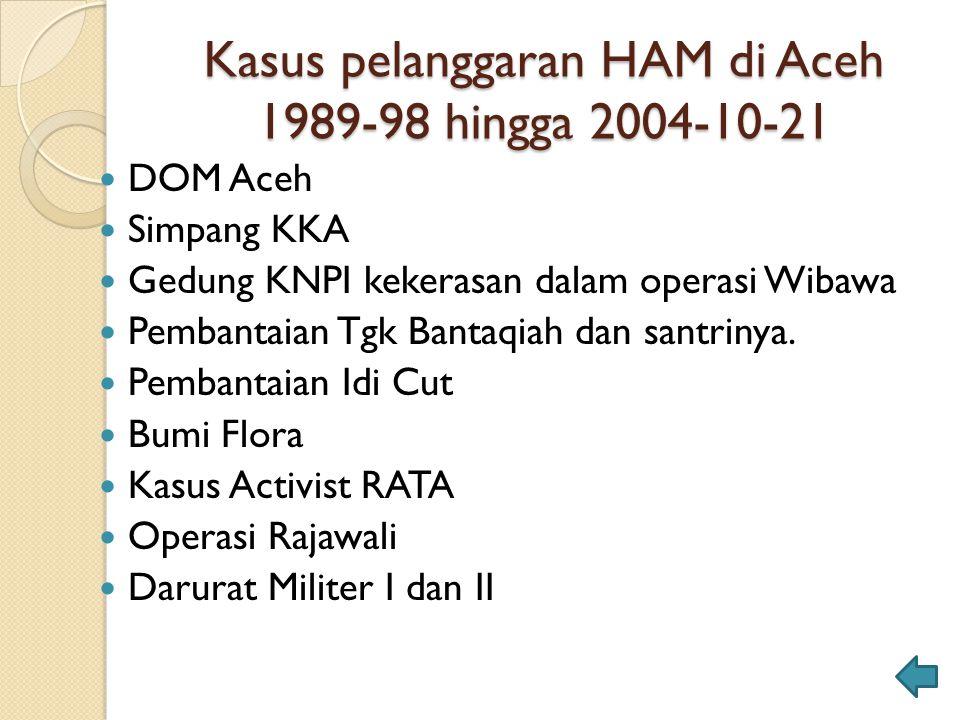 Kasus pelanggaran HAM di Aceh 1989-98 hingga 2004-10-21 DOM Aceh Simpang KKA Gedung KNPI kekerasan dalam operasi Wibawa Pembantaian Tgk Bantaqiah dan