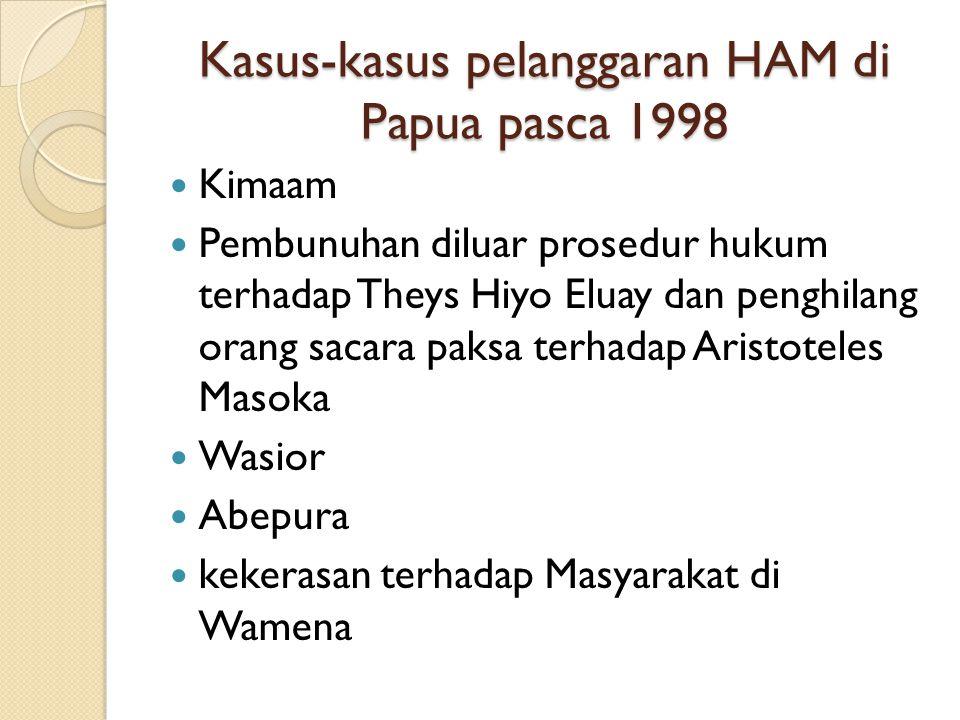 Kasus-kasus pelanggaran HAM di Papua pasca 1998 Kimaam Pembunuhan diluar prosedur hukum terhadap Theys Hiyo Eluay dan penghilang orang sacara paksa te