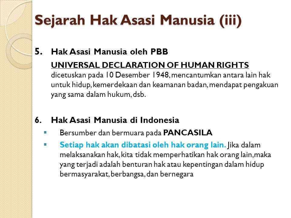 Sejarah Hak Asasi Manusia (iii) 5. Hak Asasi Manusia oleh PBB UNIVERSAL DECLARATION OF HUMAN RIGHTS dicetuskan pada 10 Desember 1948, mencantumkan ant